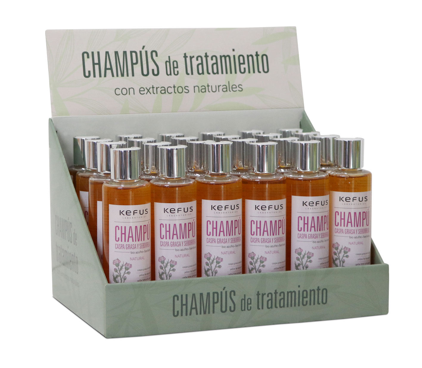 Expositor Champú 24 uds. Caspa Grasa y Seborrea Kefus 200 ml
